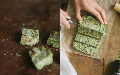 Handmade matcha chocolate bars