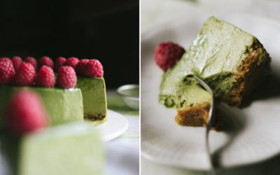 Matcha cheesecake with raspberries