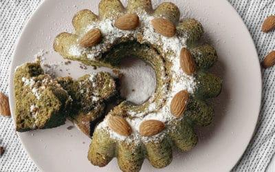 Vegan easter cake with matcha